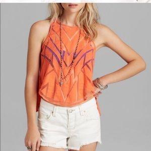 Free People Orange Sheer Crop Top with Cute Back